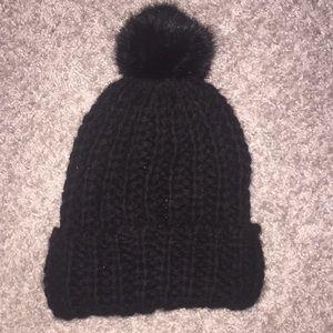 Black Pom beanie